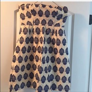 Strapless ivory and navy dress